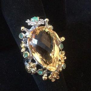 Breathtaking Genuine Citrine & Emerald Ring
